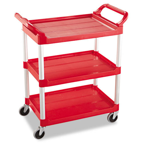Rubbermaid Commercial Three-Shelf Service Cart RCP342488RED,  (UPC:086876164718)