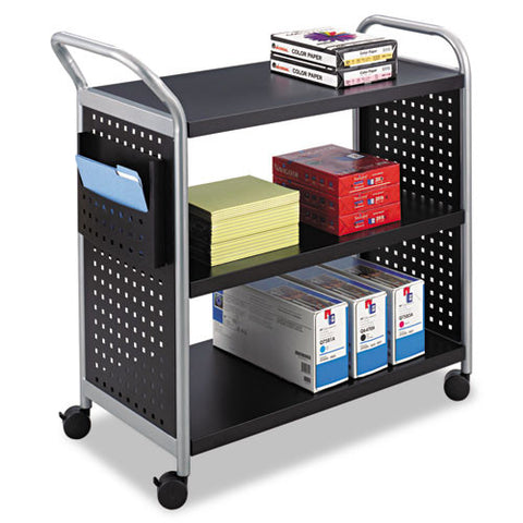 Safco Scoot 3 Shelf Utility Cart SAF5339BL, Black (UPC:073555533927)