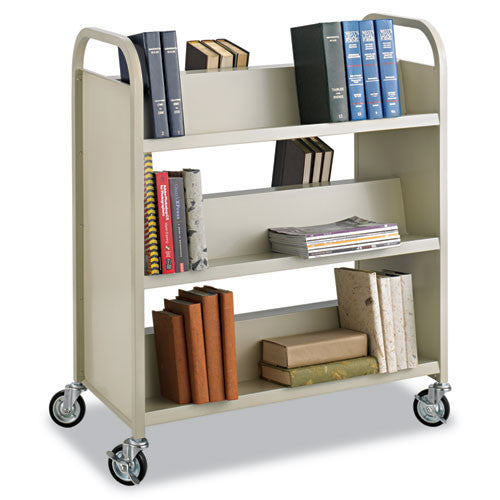 Safco Steel Shelf Double-Sided Book Carts, 6-Shelf Cart SAF5357SA, Green (UPC:073555535761)