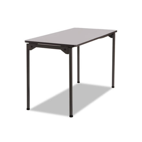 Iceberg Maxx Legroom Wood Folding Table ICE65807, Gray (UPC:674785658079)