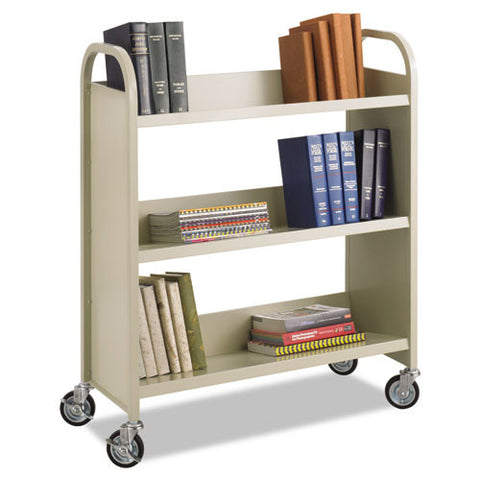 Safco Steel 3-Shelf Single-Sided Book Carts SAF5358SA, Green (UPC:073555535860)