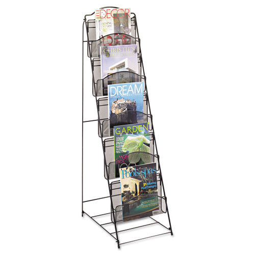 Safco Black Onyx Mesh Literature Floor Rack SAF6461BL, Black (UPC:073555646122)