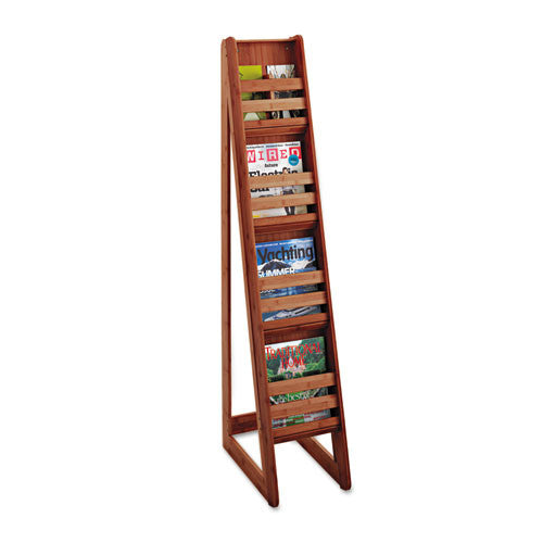 Safco 4-Pocket Bamboo Magazine Display SAF4622CY, Cherry (UPC:073555462258)