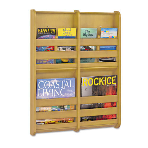 Safco 4-Pocket Bamboo Magazine Wall Rack SAF4623NA,  (UPC:073555462302)
