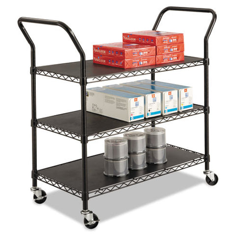 Safco 3-shelf Wire Utility Cart SAF5338BL, Black (UPC:073555533828)