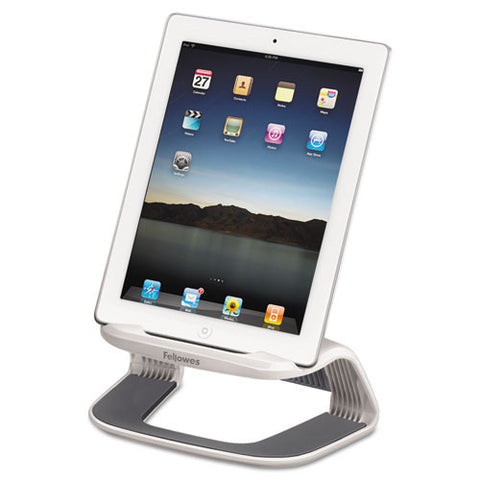 fellowes I-Spire Series™ Tablet Riser in white/gray shown with I-Pad ; UPC: 043859659142