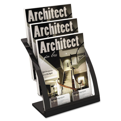 Deflecto 3-tier Contemporary Magazine Holder DEF693704, Black (UPC:079916028071)