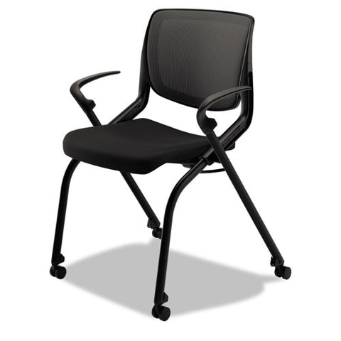 HON Motivate Nesting Stacking Chair | Black ilira Stretch Back | Fixed Arms | Onyx Shell | Black Frame | Black Fabric ; Image 2