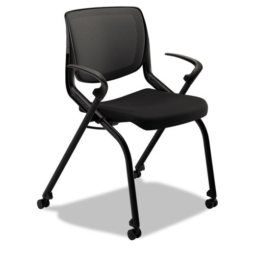 HON Motivate Nesting Stacking Chair | Black ilira Stretch Back | Fixed Arms | Onyx Shell | Black Frame | Black Fabric ; Image 1