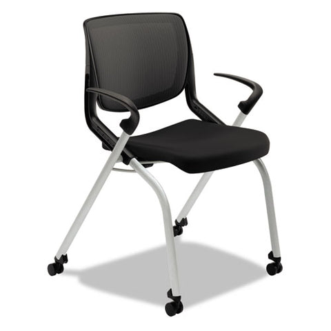 HON Motivate Nesting Stacking Chair | Black ilira Stretch Back | Fixed Arms | Onyx Shell | Platinum Frame | Black Fabric ; UPC: 035349303376 ; Image 1