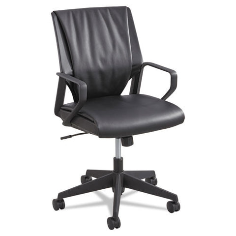 Safco Priya Leather Executive Mid-back Chair SAF5076BL, Black (UPC:073555507621)