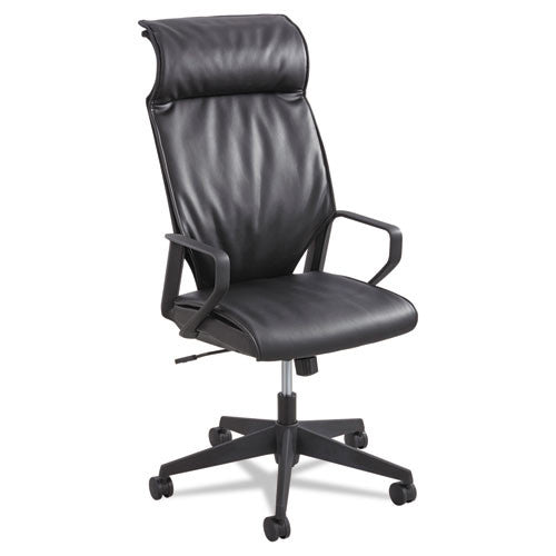 Safco Priya Leather Executive High-back Chair SAF5075BL, Black (UPC:073555507522)
