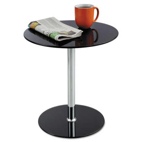 Safco Tempered-glass Accent Table SAF5095BL, Black (UPC:073555509526)