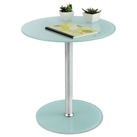 Safco Tempered-glass Accent Table SAF5095WH, White (UPC:073555509595)