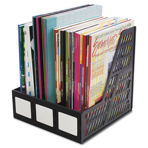 Advantus 3-compartment Magazine/Literature File AVT34091, Black (UPC:091141340919)