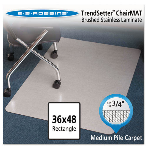 ES Robbins Trendsetter Med-pile Silver Chairmat ESR119337, Silver (UPC:012544193377)
