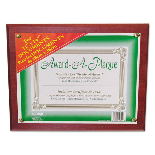 Nu-Dell Award-A-Plaque Multipurpose Frame ; (042122188235); Color:Mahogany,Clear Faceplate