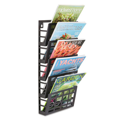 Safco 5-Pocket Grid Magazine Rack SAF4661BL, Black (UPC:073555466126)