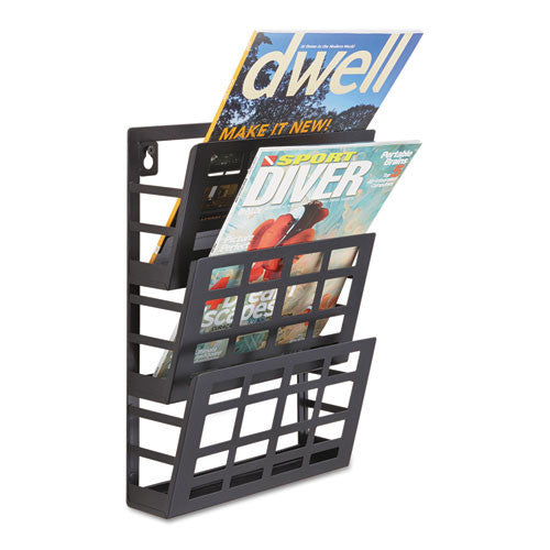 Safco 3-Pocket Grid Magazine Rack SAF4660BL, Black (UPC:073555466027)