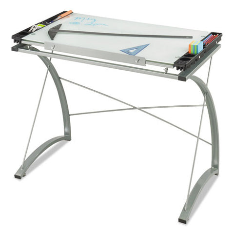 Safco Xpressions Glass Top Drafting Table SAF3966TG, Black (UPC:073555396645)