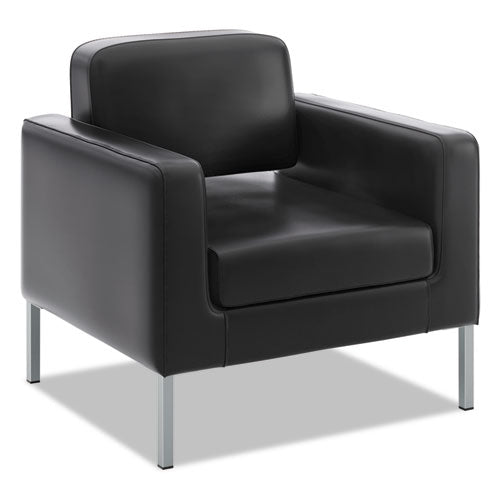 HON Corral Club Chair | Black SofThread Leather ; UPC: 888206238409 ; Image 1