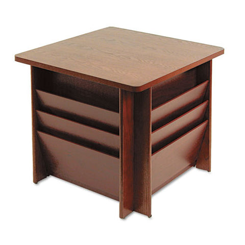 Buddy Table with Literature Rack BDY929816, Mahogany (UPC:025719929862)