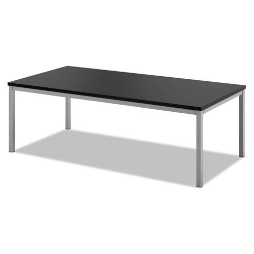 "HON Metal Leg Coffee Table | Black Laminate | Silver Frame | 48""W x 24""D ; UPC: 191734204335 ; Image 1"