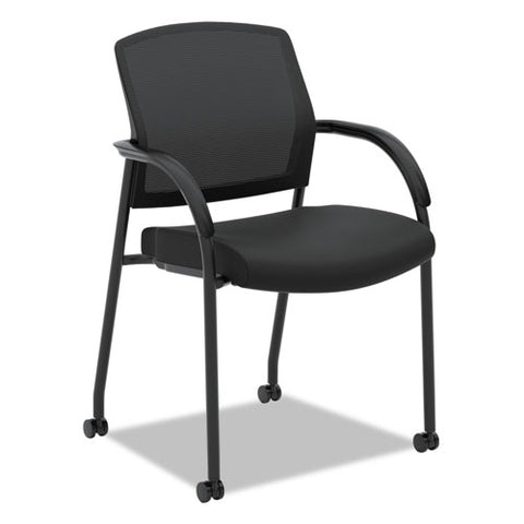 HON Lota Stacking Multi-Purpose Side Chair | Fixed Loop Arms | Black ; Image 1