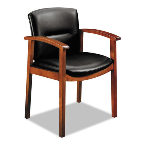 HON Park Avenue Hardwood and Leather Guest Chair HON5003JSS11, Black (UPC:020459565486)