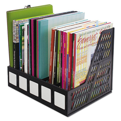Advantus 5-compartment Magazine/Literature File AVT34092, Black (UPC:091141340926)
