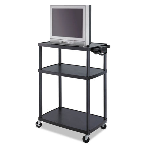 Safco Height Adjustable A/V Equipment Cart SAF8944BL, Black (UPC:073555894424)