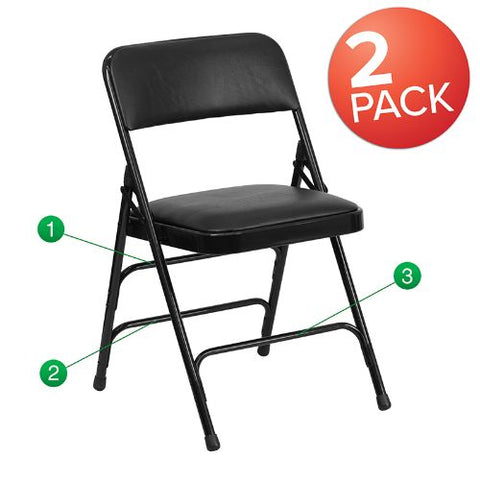 Flash Furniture HERCULES Series Metal Folding Chairs with Padded Seats | Set of 2 Black Metal Folding Chairs 2HAMC309AVBKGG ; Image 1 ; UPC 889142417316