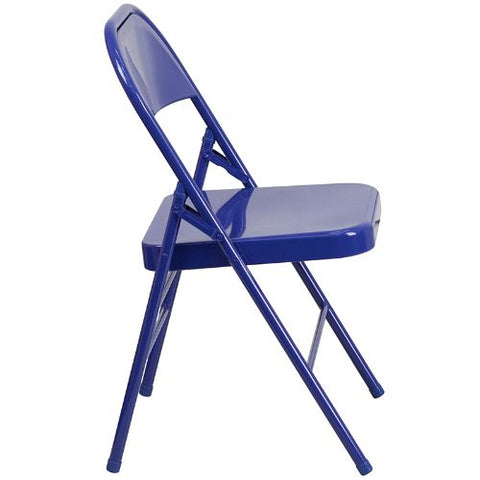 Flash Furniture 2 Pk. HERCULES COLORBURST Series Cobalt Blue Triple Braced & Double Hinged Metal Folding Chair 2HF3BLUEGG ; Image 3 ; UPC 889142652496