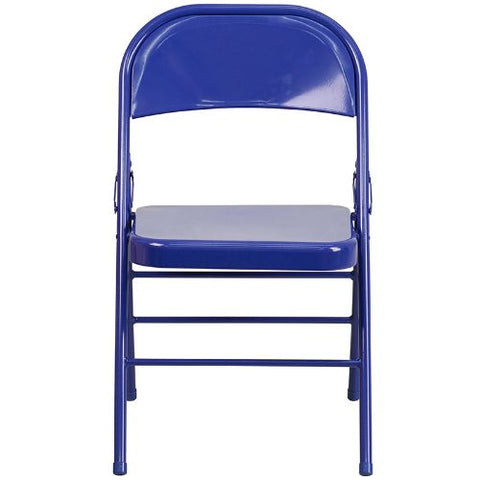 Flash Furniture 2 Pk. HERCULES COLORBURST Series Cobalt Blue Triple Braced & Double Hinged Metal Folding Chair 2HF3BLUEGG ; Image 5 ; UPC 889142652496