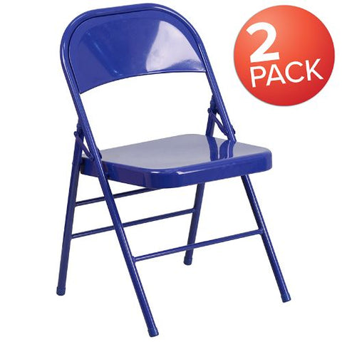 Flash Furniture 2 Pk. HERCULES COLORBURST Series Cobalt Blue Triple Braced & Double Hinged Metal Folding Chair 2HF3BLUEGG ; Image 1 ; UPC 889142652496