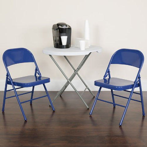 Flash Furniture 2 Pk. HERCULES COLORBURST Series Cobalt Blue Triple Braced & Double Hinged Metal Folding Chair 2HF3BLUEGG ; Image 2 ; UPC 889142652496