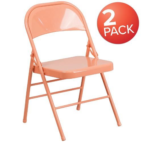 Flash Furniture 2 Pk. HERCULES COLORBURST Series Sedona Coral Triple Braced & Double Hinged Metal Folding Chair 2HF3CORALGG ; Image 1 ; UPC 889142652472