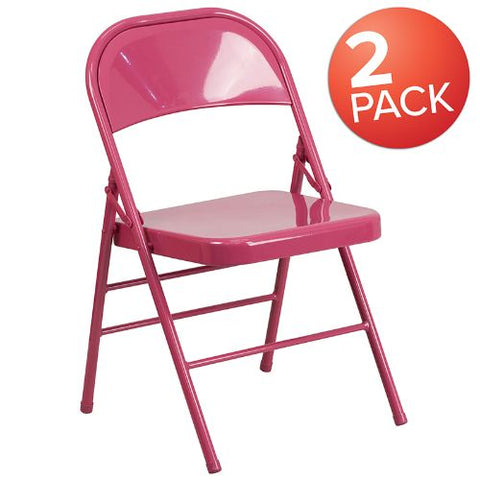 Flash Furniture 2 Pk. HERCULES COLORBURST Series Shockingly Fuchsia Triple Braced & Double Hinged Metal Folding Chair 2HF3FUCHSIAGG ; Image 1 ; UPC 889142417569