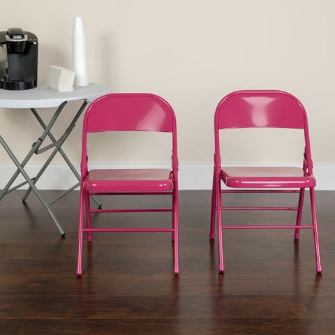 Flash Furniture 2 Pk. HERCULES COLORBURST Series Shockingly Fuchsia Triple Braced & Double Hinged Metal Folding Chair 2HF3FUCHSIAGG ; Image 2 ; UPC 889142417569