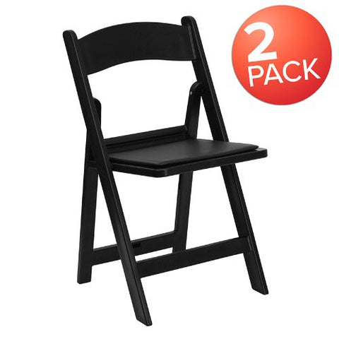 Flash Furniture HERCULES Series Folding Chairs with Padded Seats | Set of 2 Black Resin Folding Chair with Vinyl Padded Seat 2LEL1BLACKGG ; Image 1 ; UPC 889142652465