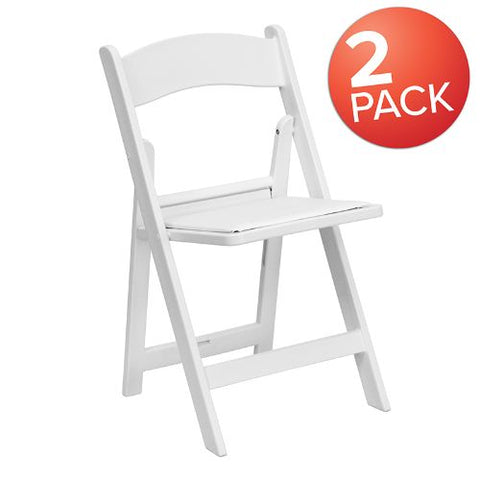 Flash Furniture HERCULES Series Folding Chairs with Padded Seats | Set of 2 White Resin Folding Chair with Vinyl Padded Seat 2LEL1WHITEGG ; Image 1 ; UPC 889142652755