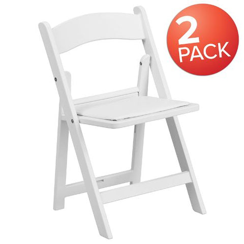 Flash Furniture Kids Folding Chairs with Padded Seats | Set of 2 White Resin Folding Chair with Vinyl Padded Seat for Kids 2LEL1KGG ; Image 1 ; UPC 889142417491