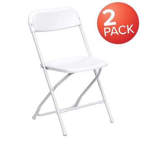 Flash Furniture HERCULES Series White Plastic Folding Chairs | Set of 2 Lightweight Folding Chairs 2LEL3WHITEGG ; Image 1 ; UPC 889142652670
