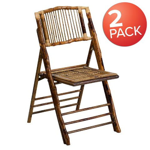 Flash Furniture Bamboo Folding Chairs |�Set of 2 Bamboo Wood Folding Chairs 2X62111BAMGG ; Image 1 ; UPC 889142417460