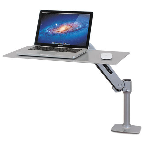 WorkFit-P Sit-Stand Workstation in up position, 25 3/4w x 14 3/4d x 7 3/4h, Platinum Silver ; UPC:  698833039504