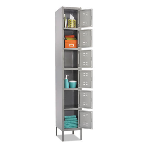Safco Six-Tier Two-tone Box Locker with Legs SAF5524GR, Gray (UPC:073555552409)