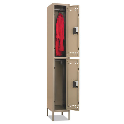 Safco Double-Tier Two-tone Locker with legs SAF5523TN, Tan (UPC:073555552362)