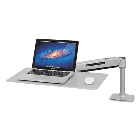 WorkFit-P Sit-Stand Workstation in down position, 25 3/4w x 14 3/4d x 7 3/4h, Platinum Silver ; UPC:  698833039504