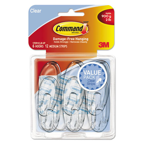 Command Clear Medium Hook Value Pack ; (051141347066); Color:Clear