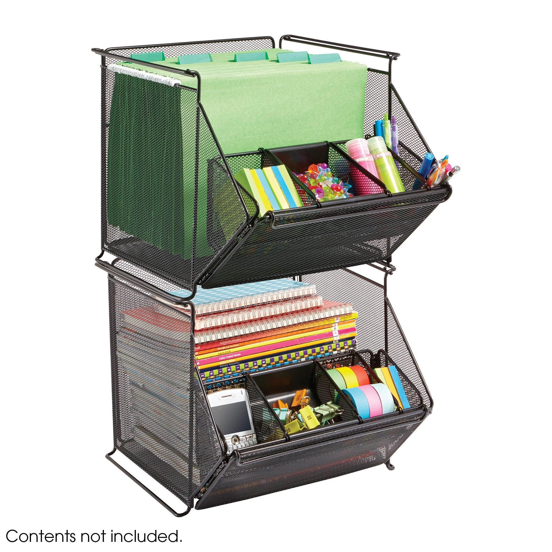 Safco Products Onyx™ Stackable Mesh Storage Bins 2164bl